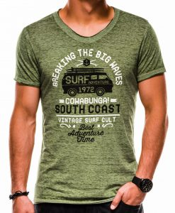 Žali vyriški marškinėliai su užrašais ir aplikacija S1151 13683-1