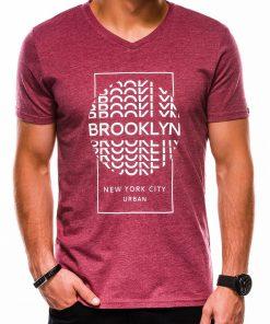Tamsiai raudoni vyriški marškinėliai su užrašu akcija internetu pigia S1152 13684-1