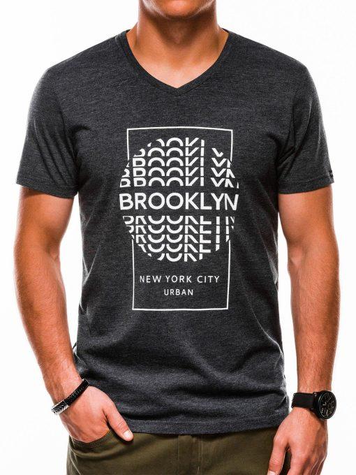 Juodi vyriški marškinėliai su užrašu akcija internetu pigiau S1152 13685-1