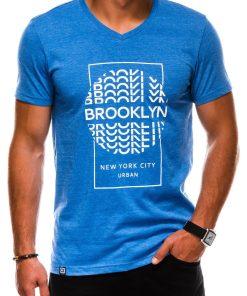 Mėlyni vyriški marškinėliai su užrašu akcija internetu pigiau S1152 13686-1