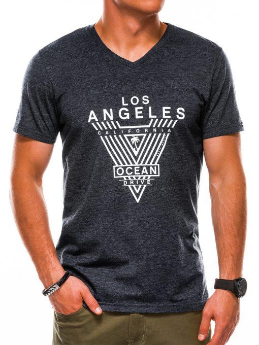 Juodi vyriški marškinėliai su užrašu akcija internetu pigiau S1153 13687-2