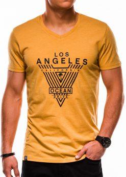 Geltoni vyriški marškinėliai su užrašu akcija internetu pigiau S1153 13688-4