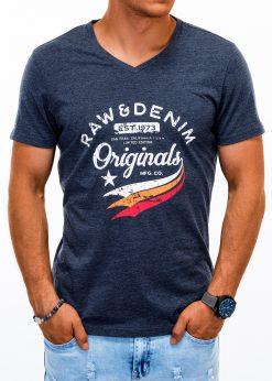 Tamsiai mėlyni vyriški marškinėliai su užrašu akcija internetu pigiau S1154 13689-4