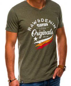 Žali vyriški marškinėliai su užrašu akcija internetu pigiau S1154 13690-3
