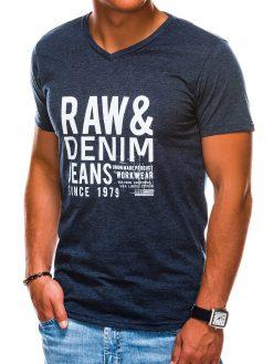 Tamsiai mėlyni vyriški marškinėliai su užrašu akcija internetu pigiau S1155 13691-4