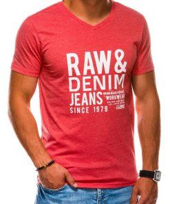Koraliniai vyriški marškinėliai su užrašu internetu pigiau S1155 13692-2
