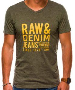 Žali vyriški marškinėliai su užrašu akcija internetu pigiau S1155 13693-1