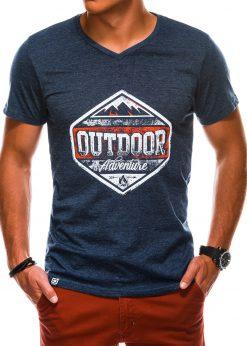 Tamsiai mėlyni vyriški marškinėliai su užrašu akcija internetu pigiau S1156 13694-2