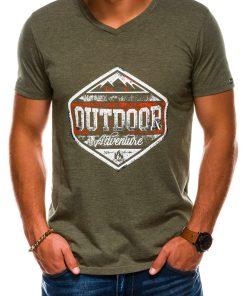 Žali vyriški marškinėliai su užrašu akcija internetu pigiau S1156 13695-5