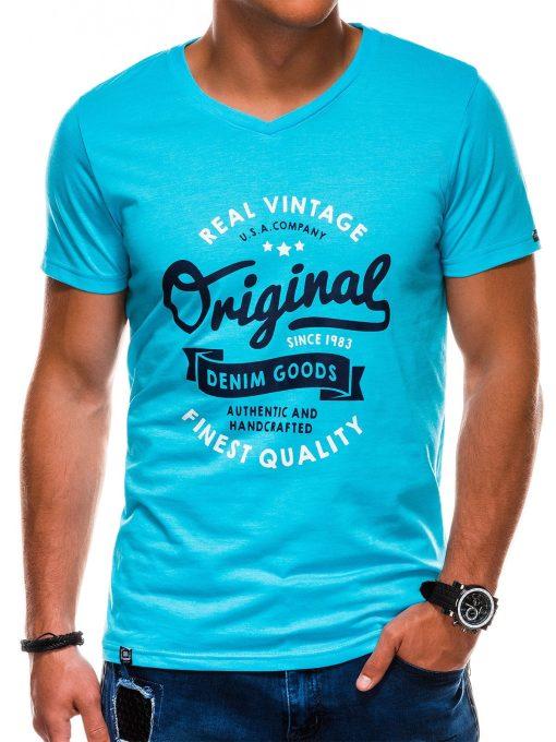 Šviesiai mėlyni vyriški marškinėliai su užrašu akcija internetu pigiau S1157 13696-1