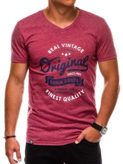 Tamsiai raudoni vyriški marškinėliai su užrašu akcija internetu pigiau S1157 13697-3