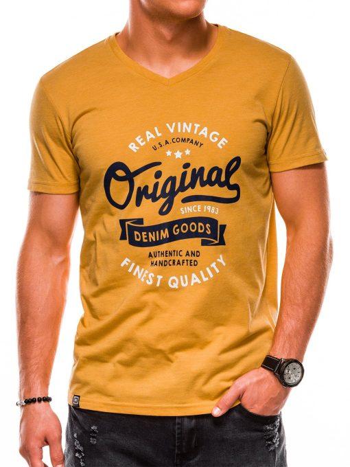 Geltoni vyriški marškinėliai su užrašu akcija internetu pigiau S1157 13698-5