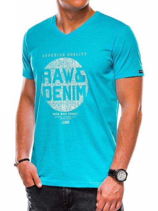 Šviesiai mėlyni vyriški marškinėliai su užrašu akcija internetu pigiau S1158 13699-2