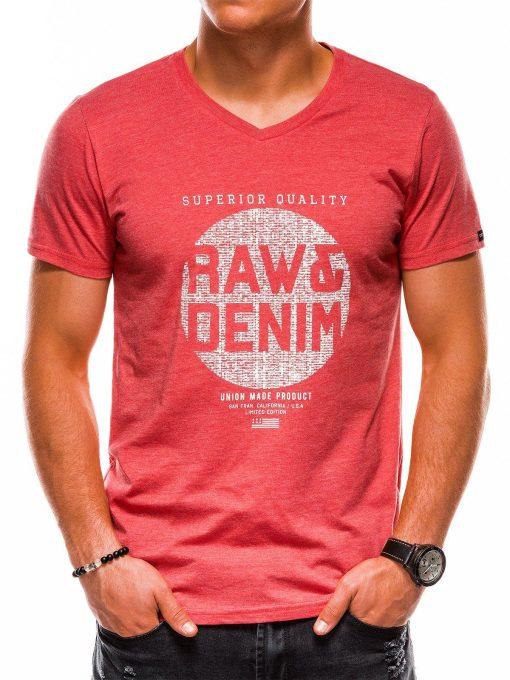 Koraliniai vyriški marškinėliai su užrašu akcija internetu pigiau S1158 13701-3