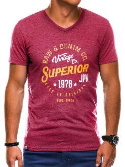 Tamsiai raudoni vyriški marškinėliai su užrašu akcija internetu pigiau S1159 13702-2