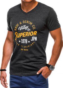Juodi vyriški marškinėliai su užrašu akcija internetu pigiau S1159 1370-2