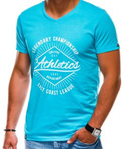 Šviesiai mėlyni vyriški marškinėliai su užrašu internetu pigiau S1160 13704-6