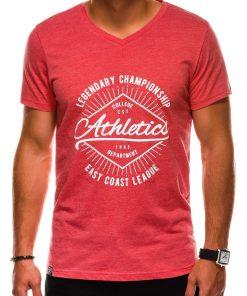 Koraliniai vyriški marškinėliai su užrašu internetu pigiau S1160 13705-6