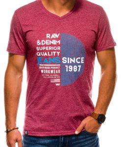 Tamsiai raudoni vyriški marškinėliai su užrašu internetu pigiau S1161 13706-1