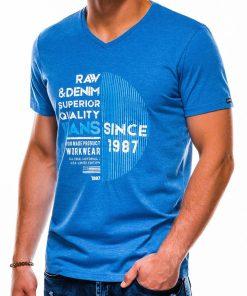 Mėlyni vyriški marškinėliai su užrašu internetu pigiau S1161 13707-1