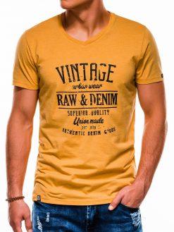 Geltoni vyriški marškinėliai su užrašu internetu S1163 13710-1