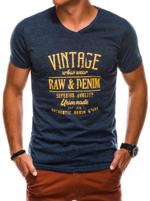 Tamsiai mėlyni vyriški marškinėliai su užrašu internetu S1163 13711-2