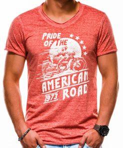 Koraliniai vyriški marškinėliai su užrašu ir aplikacija internetu pigiau S1052 13713-4