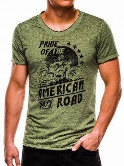Žali vyriški marškinėliai su užrašu internetu pigiau S1052 13714-1