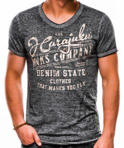 Pilki vyriški marškinėliai su užrašu internetu S1137 13715-2