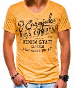 Geltoni vyriški marškinėliai su užrašu internetu S1137 13716-1