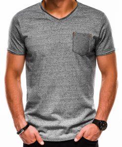 Pilki melanžiniai vienspalviai vyriški marškinėliai internetu pigiau S1100 13719-1