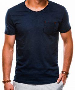 Tamsiai mėlyni vienspalviai vyriški marškinėliai internetu pigiau S1100 13720-1