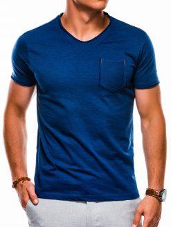 Mėlyni vienspalviai vyriški marškinėliai internetu pigiau S1100 13721-4