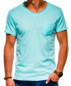 Šviesiai mėlyni vienspalviai vyriški marškinėliai internetu pigiau S1100 13723-1