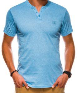 Šviesiai mėlyni vienspalviai vyriški marškinėliai internetu pigiau S1047 13724-3