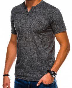 Juodi vienspalviai vyriški marškinėliai internetu pigiau S1047 13725-1