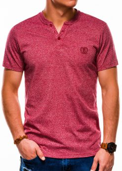 Raudoni vienspalviai vyriški marškinėliai internetu pigiau S1047 13726-2