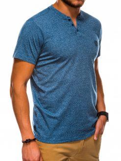 Mėlyni vienspalviai vyriški marškinėliai internetu pigiau S1047 13727-3