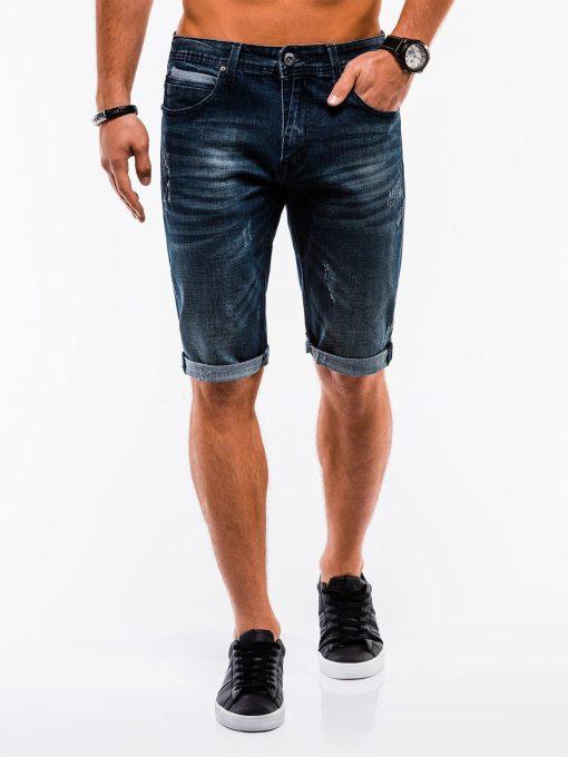 Tamsiai mėlyni džinsiniai šortai vyrams internetu pigiau W218 13732