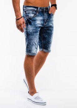 Tamsiai mėlyni džinsiniai šortai vyrams internetu pigiau W216 13733-3