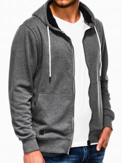 Tamsiai pilkas vyriškas džemperis su gobtuvu B976 13739-3