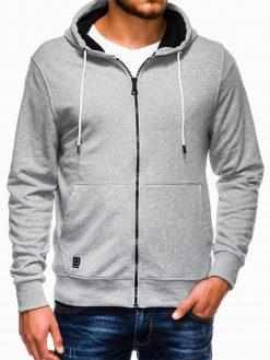 Pilkas vyriškas džemperis su gobtuvu B976 13741-1