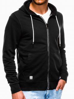 Juodas vyriškas džemperis su gobtuvu B976 13742-1