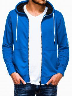 Šviesiai mėlynas vyriškas džemperis su gobtuvu B976 13743-3