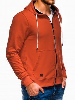 Tamsiai oranžinis vyriškas džemperis su gobtuvu B976 13744-1