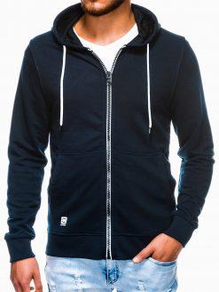 Tamsiai mėlynas vyriškas džemperis su gobtuvu B976 13746-2