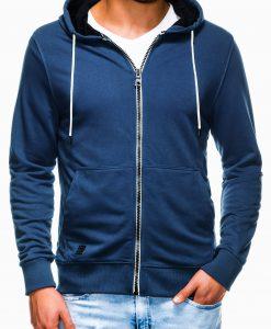 Sodriai mėlynas vyriškas džemperis su gobtuvu B976 13753-3