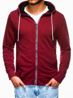Tamsiai raudonas vyriškas džemperis su gobtuvu B976 13754-1