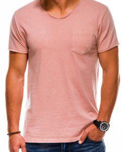 Rožiniai vienspalviai vyriški marškinėliai internetu pigiau S1037 13758-1
