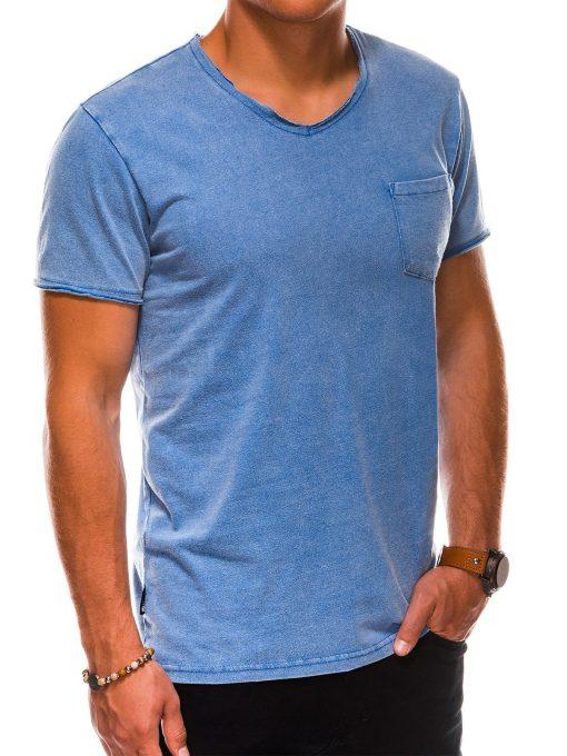 Tamsiai mėlyni vienspalviai vyriški marškinėliai internetu pigiau S1037 13760-1